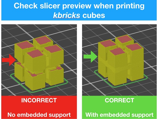 Slicer preview with and without embedded support
