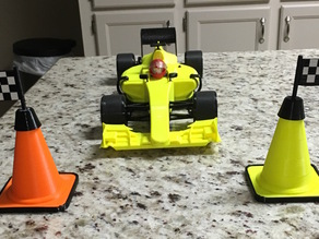Checkered Flag for Traffic Cone