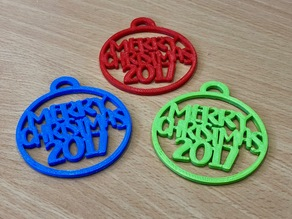 """""""Merry Christmas 2017"""" - Tree Decoration / Ornament / Bauble"""