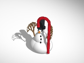 More printable snowman with tophat and candy cane