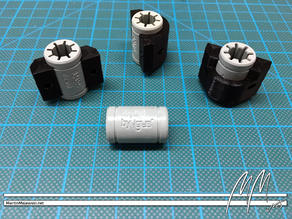 Prusa i3 MK2: V2 holder clips for Y-axis' bearings (LM8UU and igus drylin RJ4JP-01-08)