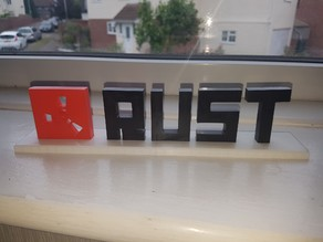 Rust Logo and text with stand