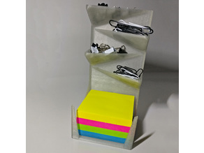 Post-it, drawing pin and paperclip holder
