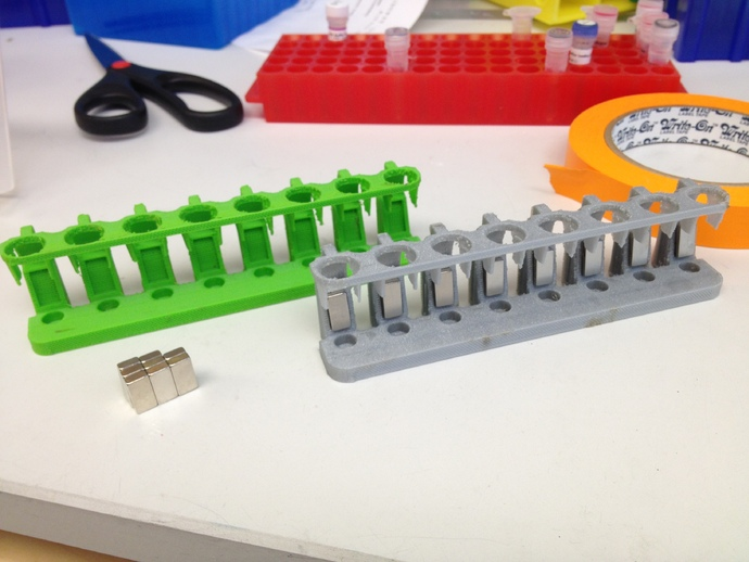 Magnetic Rack For 8 1 5ml Tubes By Acadey Thingiverse