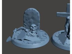 28mm Undead Skeleton Warrior - Climbing out of Grave 1