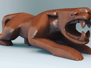 Mexican Jaguar - Wood figure 3D scan