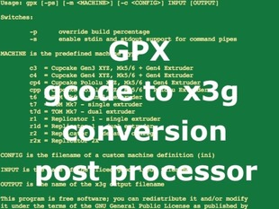 GPX gcode to x3g converter