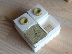 Seedling set inkl Grodan, Ikea rock wool and coco soil adapter