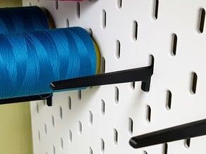 Spool thread holder for IKEA SKADIS pegboard