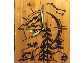 Wall Watch decor (mountains, tree, elk)