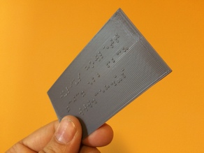 Braille Business Contact Card
