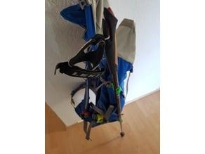 Hiking stick bagpack hooks