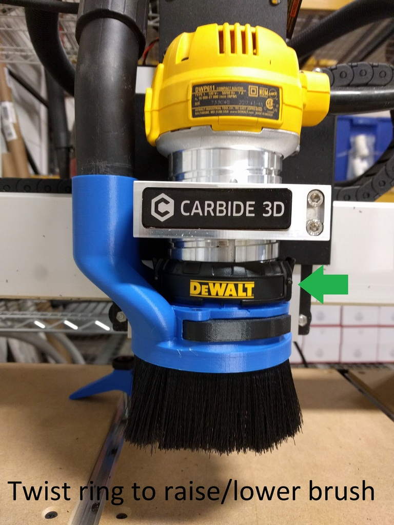 Adjustable Height CNC Dust Shoe for DeWalt 611 by Gage6917 - Thingiverse