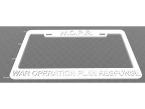 WOPR - War Operation Plan Response, License Plate Frame