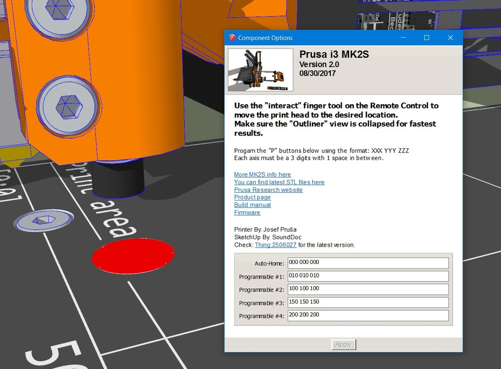 Prusa i3 MK2S SketchUp Dynamic Model (automatic bed/hotend position