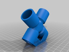 4-Way X Pipe Fitting (Ø22mm Pipe Solvent Weld) print in ABS and Vapour Bath
