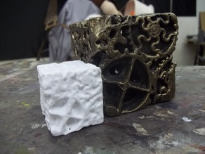 Bronze cube of gears scanned with 123D Catch
