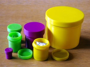 customizable round box with threaded lid