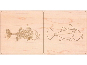 Fish zoology animal puzzle montessori for laser cut