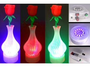 Valentine Vase Dazzler: Color LED Light Base for Valentines Vase & Flowers