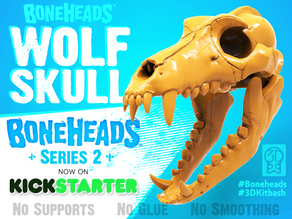 Boneheads Series 1: Wolf Skull w/ Articulated Jaw - via 3DKitbash.com