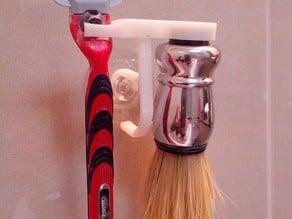 Razor and magnetic brush holder