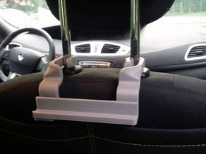 Car holder on seat back for phone (or tablet)