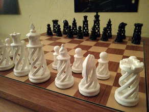 Spiral Chess Set with hollow base