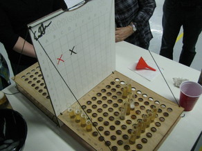 Battleshots XL, a laser-cut drinking game