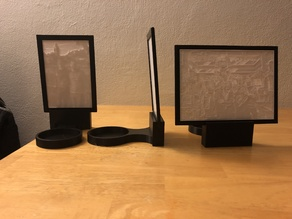 "Lithophane Stand with 3"" Candle Holder, 4x6 photo frame, and 5x7 photo frame."