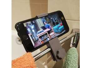 Towel rack phone holder
