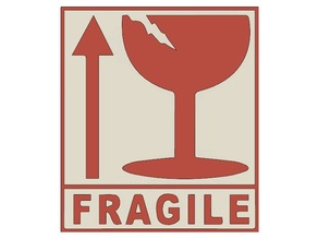 "Dual-color ""Fragile this side up"" shipping sign"