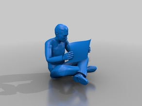 Male read news paper sitting