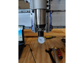 Dial indicator clamp for CNC router spindle