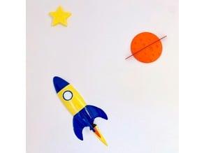 Rocket cartoon + planet + star (wall mount)