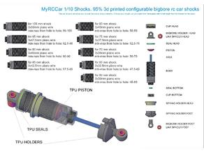 MyRCCar 1/10 Shocks: 95% 3D Printed Configurable Bigbore RC Car Shocks
