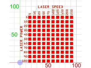 Laser Cutter Material Test Chart