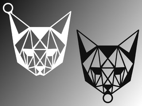 Low-poly styled cat keychain
