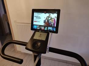 Tablet holder for training bike.