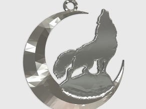 wolf + moon keychain