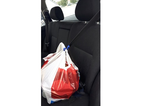Seatbelt shopping bag hook