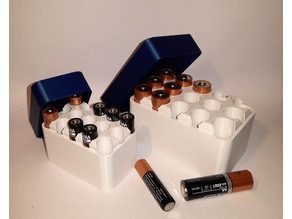 AA and AAA battery storage box with lid