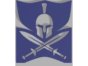Helmet and sword stencil