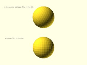 Fibonacci Sphere: A Smoother Sphere for OpenSCAD