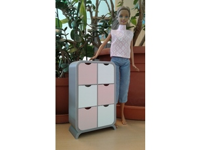 Barbie closet with drawers