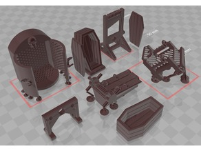 Torture Equipment - Rack/Coffin/Stocks/Guillotine/Chair/Iron Maiden 28mm