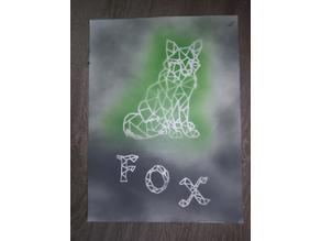 Origami/pochoir Renard- origami/stencil fox