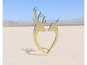 Deer Couple Heart Necklace