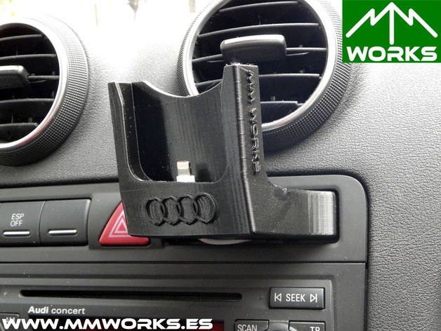 iphone 5 holder charger base for audi a3 8p adapted to serial holder card by mmworks thingiverse. Black Bedroom Furniture Sets. Home Design Ideas