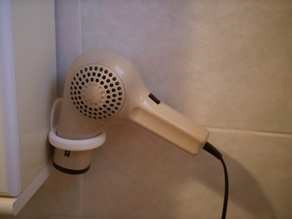 Hair dryer holder, no screws, no duct tape needed
